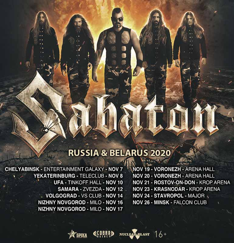 Sabaton new tour dates for Russia & Belarus