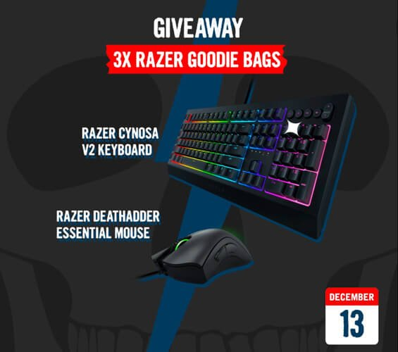 December 13 – Giveaway: 3x Razer goodie bags (Keyboard & Mouse)
