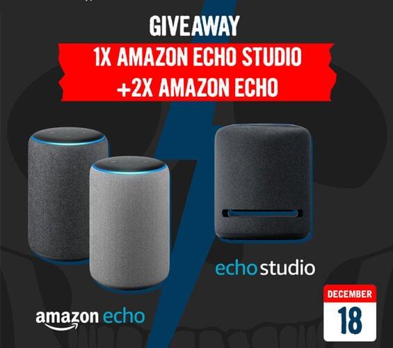 December 18 – Giveaway - Amazon Echo Studio + Amazon Echo
