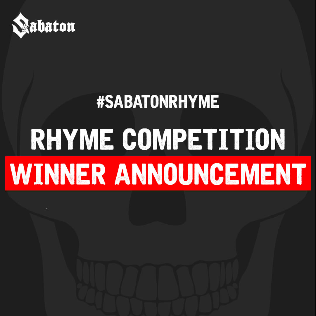 Sabaton Rhyme Competition Winner Announcement